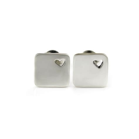 Square Stud sterling silver square stud earrings from