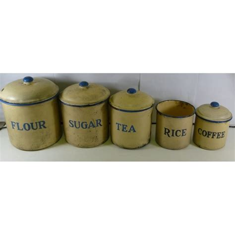kitchen canister set of 5 in blue on cream enamel