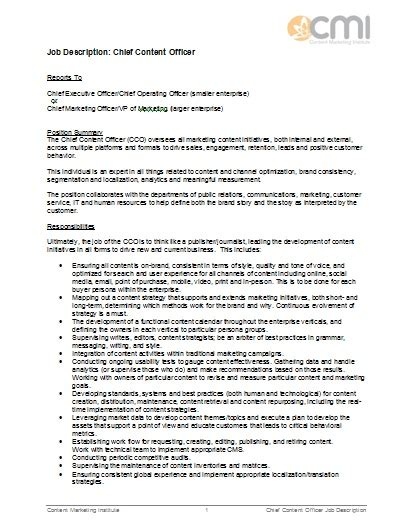 help desk professional description description format for chief content officer