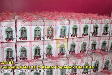 Souvenir Gelas Hias souvenir gelas isi 2 kemas paperbox hias pita souvenir