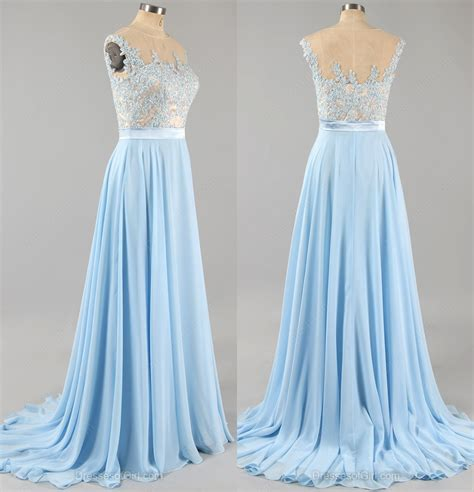 light blue floral dress light blue prom dress with floral lace applique cap