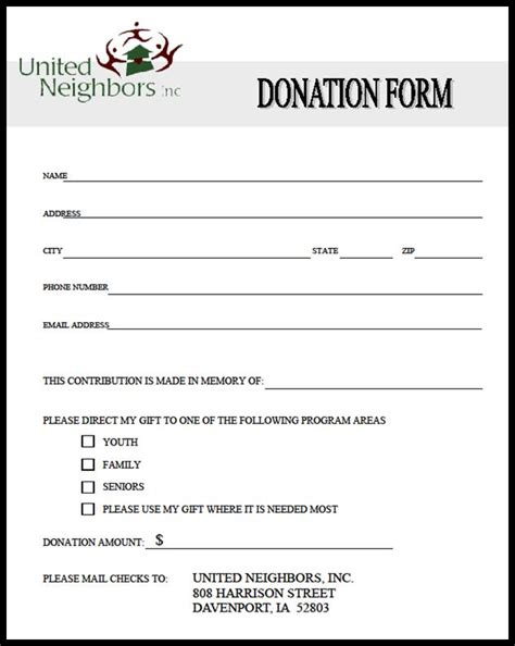 printable donation form template printable template 2017