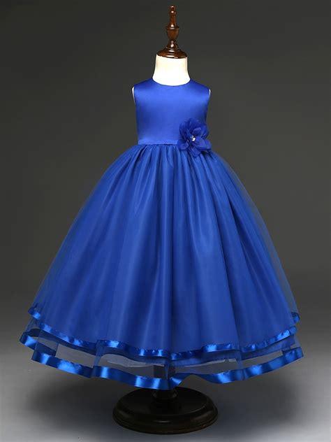 Dress Aqua Biru fashion simple wedding flower dress blue