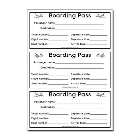 activity pass card template flight boarding pass worksheet classroom decoration