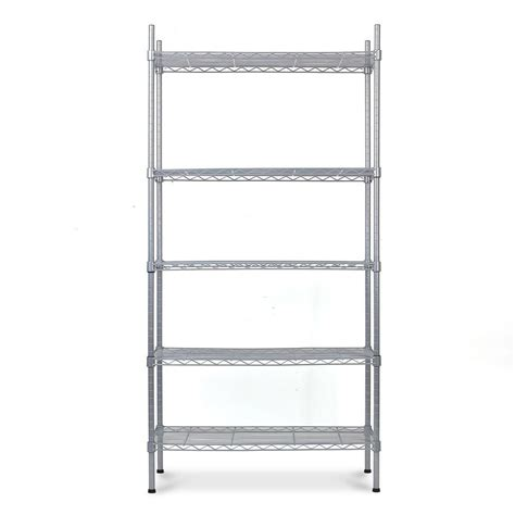 5 tier heavy duty metal steel storage shelf kitchen garage