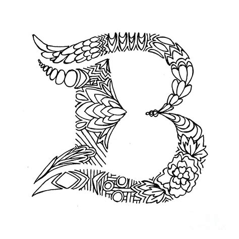 Drawing B Letter by Patterned Letter B Drawing By Alyssa Zeldenrust