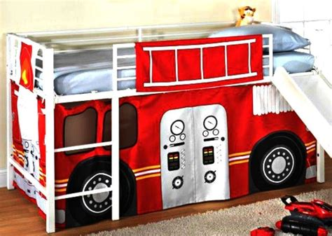 fire truck bed with slide best fireman boys firetruck bunk bed curtains set loft