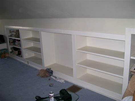 Search The Upstairs Drawers Of A House by Shelving For Half Walls In The Attic Bonus Room Ideas
