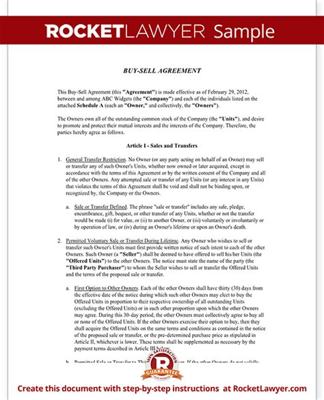 Selling A Business Template Buy Sell Agreement Form Sle Buy Sell Agreement Template