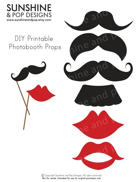 printable birthday photo booth props templates instant download diy printable photobooth props mustache