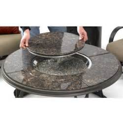 Inch chat propane gas fire pit table with granite top and lazy susan