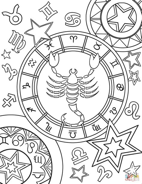printable zodiac coloring pages scorpius zodiac sign coloring page free printable