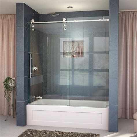 frameless sliding glass bathtub doors dreamline enigma z 56 to 59 in w x 62 in h frameless
