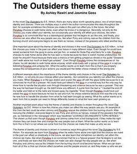 Themes In Essays by The Outsiders Theme Essay Ashleyrawirioc
