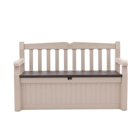 keter bench box keter 70 gal bench deck box in beige brown shopyourway