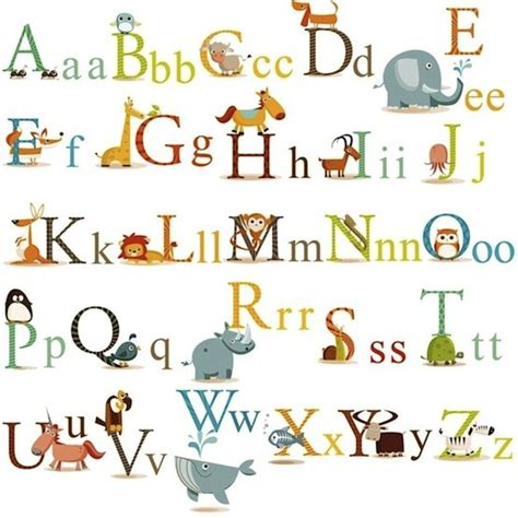 wall stickers alphabet letters animals alphabet wall decals a mighty