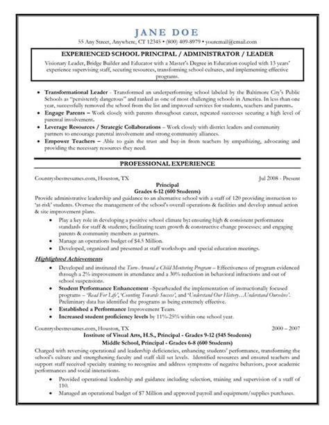 Principal Resume by Entry Level Assistant Principal Resume Templates Senior