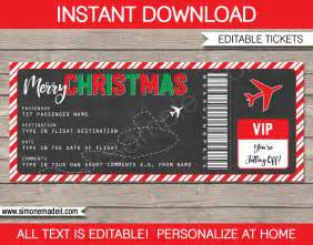 christmas gift boarding pass ticket template christmas