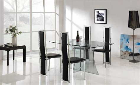 Glass Dining Table And Chairs Clearance Clearance Sale Designer Clear Glass Dining Table With 4 High Back Chairs
