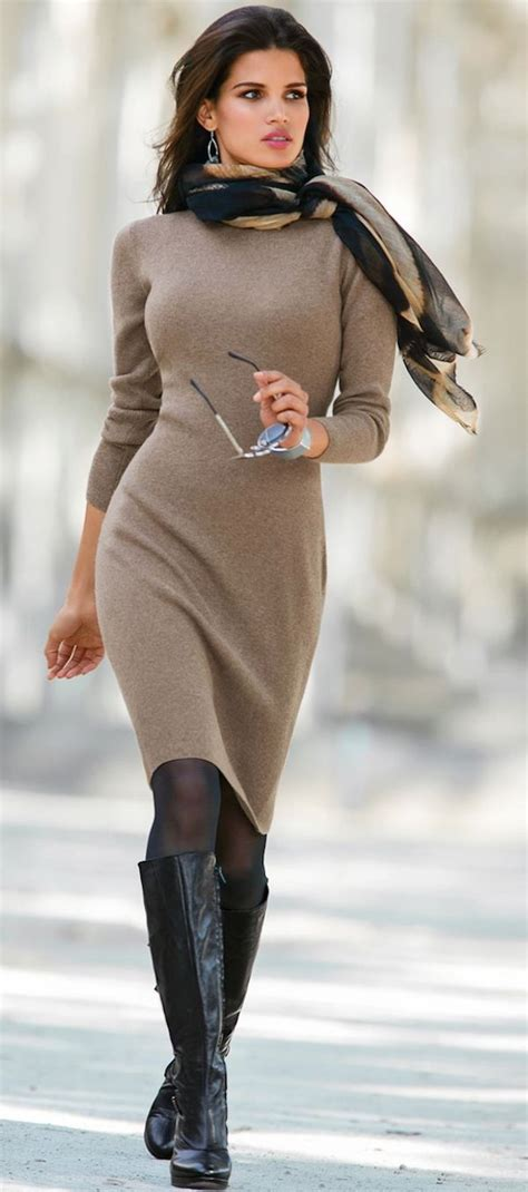 knit outfit how to style a sweater dress to look modern this winter