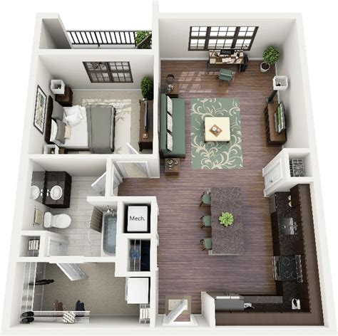 house design ideas floor plans 3d 50 one 1 bedroom apartment house plans architecture