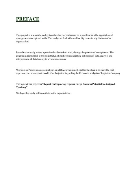Preface For Project Report Of Mba by Project Report On Exploring Express Cargo