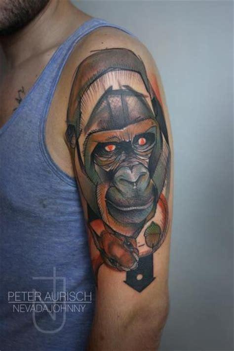 by peter aurisch tattoo shoulder draw gorilla tattoo by peter aurisch