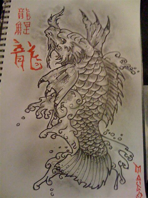 koi dragon tattoo koi design pencil and ink ideas