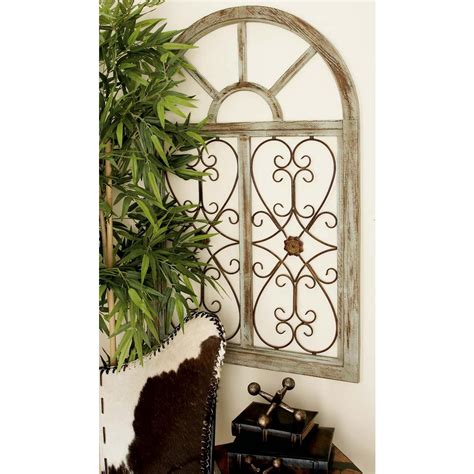 29 in x 46 in rustic brown wood and metal arched window