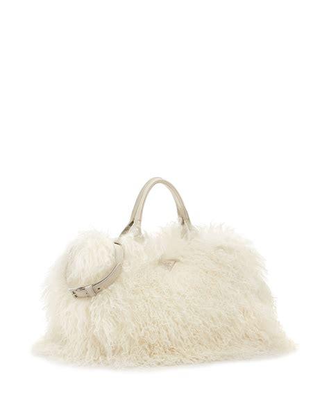 Prada Big Lambskin And Mink Handbag prada mongolian fur tote bag in white lyst
