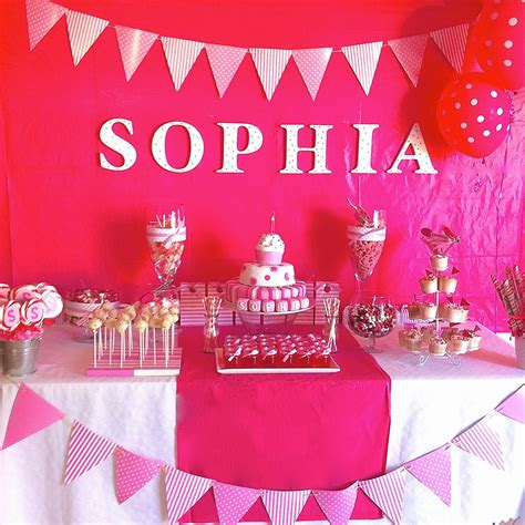 Birthday Table Decorations by Ideas Pink Spots And Stripes Themed