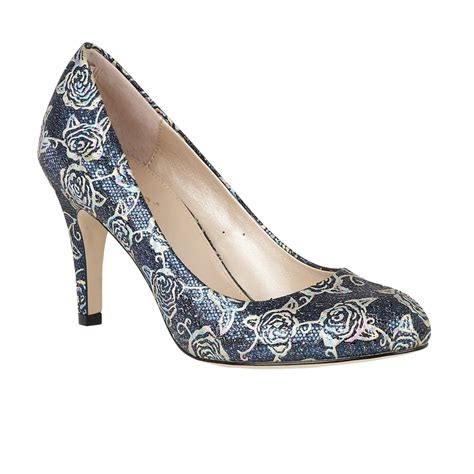 shoes uk lotus delphinium navy floral print court shoes shoes