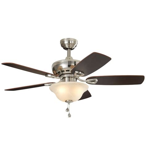 Ceiling Fans With Lights At Lowes Shop Harbor Cove 44 In Satin Nickel Downrod Or Mount Indoor Residential