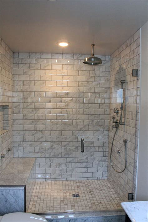 marble and subway tile bathroom bathroom shower subway tiles amazing tile