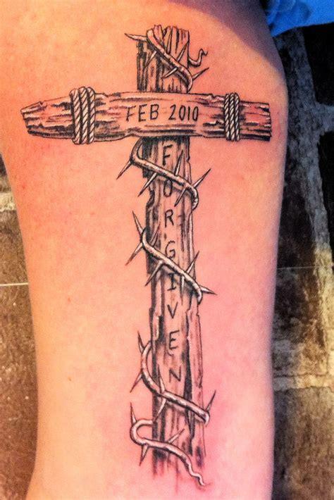 forgiven cross tattoo cross wordless wednesday sober julie doing