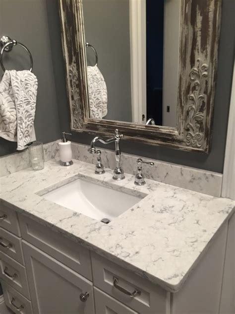 Rustic Bathroom Countertops by 3cm Viatera Quartz Rococo Rustic Bathroom Other By