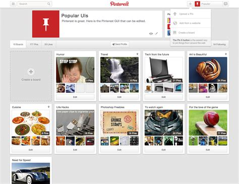 pinterest layout psd popular uis free psds of popular web interfaces