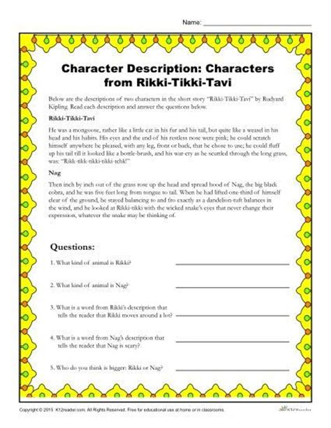 printable version of rikki tikki tavi rikki tikki tavi activities the o jays and the story