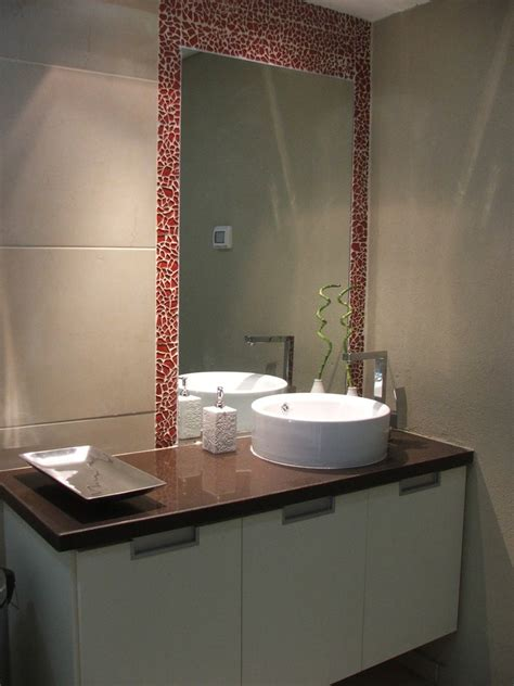 cracked glass tile bathroom contemporary with bath
