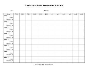 Daily Conference Room Reservation Template Conference Room Booking Template