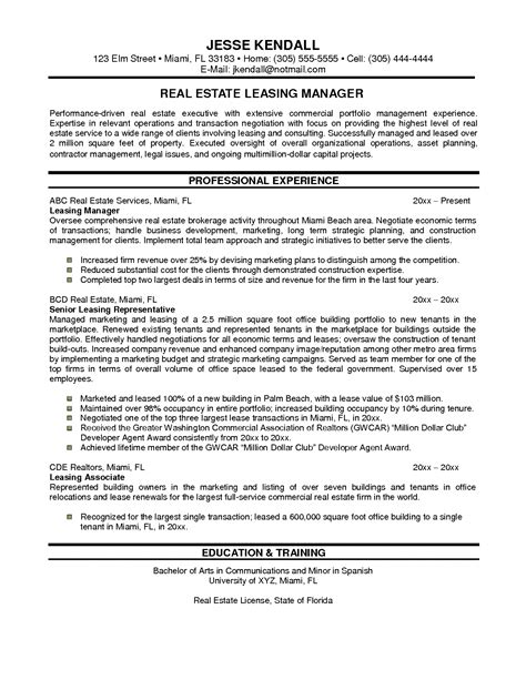real estate sales executive resume resume ideas