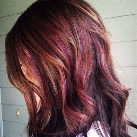 burgundy hair with caramel highlights a more subtle purple hair with burgundy tones colorful