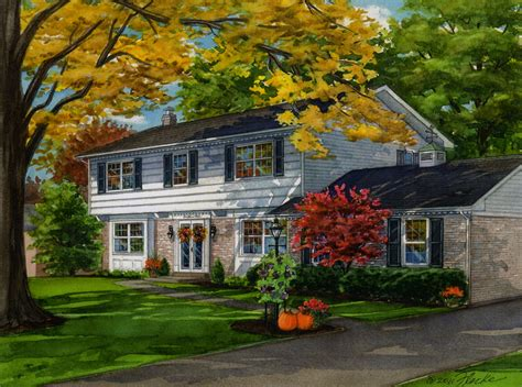 fall house charming home in fall season custom house portraits by