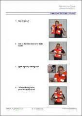 reddingsvest instructie donning instructions lifejacket laminated 210x300mm