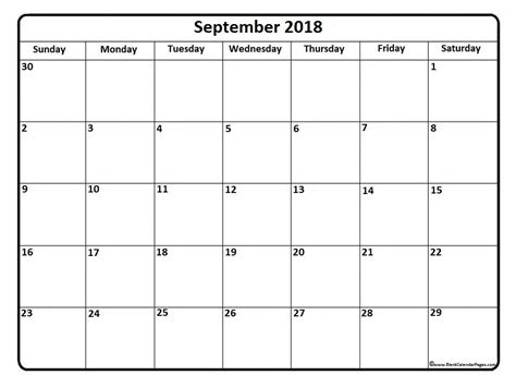 Calendar Sept 2018 September 2018 Calendar Monthly Calendar 2017