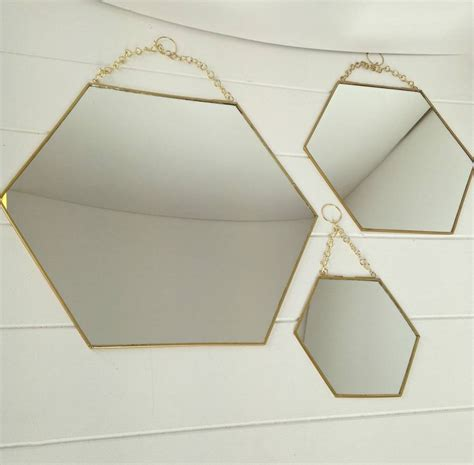 mirror shapes large hexagon shaped brass mirror by posh totty designs