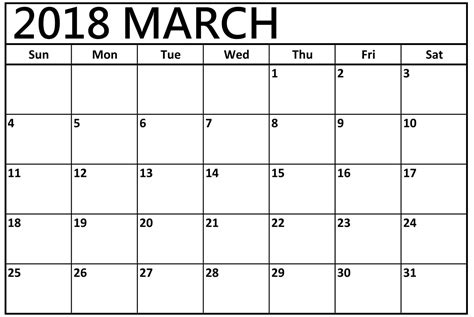 free printable march calendar template free 5 march 2018 calendar printable template source