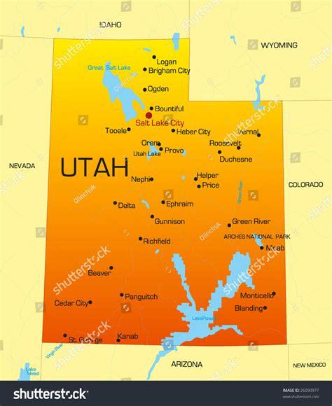 Address Lookup Utah Vector Color Map Of Utah State Usa 26090977