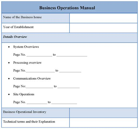 operation template manual template for business operations exle of