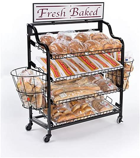 Bakery Display Rack by Bakery Display Rack With Side Baskets Tilting Shelves